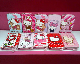 GROSIR SARUNG HP WALLET GLITTER RIBBON«  HELLOKITTY ORIGINAL LISENCE