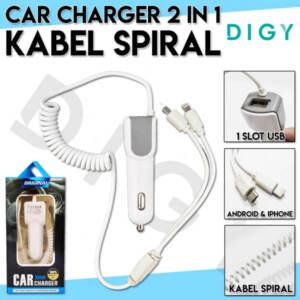Grosir Distributor Charger Mobil 2 in 1 | Saver Mobil Kabel Spiral | Murah dan Berkualitas - Jakarta