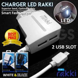 Grosir Distributor Charger LED Rakki 2 USB + Kabel Usb Murah - Jakarta
