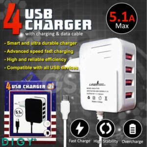 Grosir Distributor Charger 4 USB + Kabel Data Murah dan Berkualitas - Jakarta