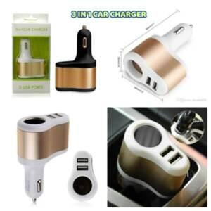 Grosir Distributor Car Charger 3 in 1 2 USB Ports Murah dan Berkualitas - Jakarta
