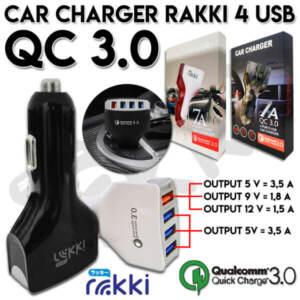 Grosir Distributor Car Charger RAKKI 4 USB, QC 3.0 Murah - Jakarta