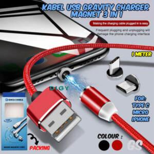 Jual Grosir Kabel USB Gravity Charger, Magnet 3 in 1 Terlengkap - Jakarta