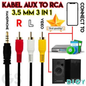 Grosir Kabel Jack To RCA Video 3.5 mm 1.2m Termurah - Jakarta