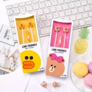 Pusat Grosir Headset Earphone Karakter Line Friends + Mic